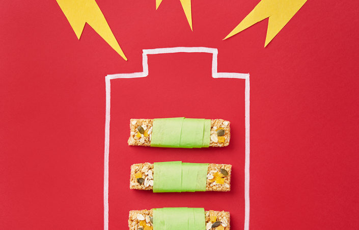 Energy bars on a red background inside the illustration of a battery.